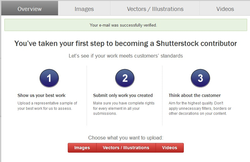 Shutterstock Registration Window